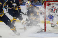Buffalo Sabres goalie Carter Hutton (40) looks for the puck during the second period of the team's NHL hockey game against the Montreal Canadiens, Wednesday, Oct. 9, 2019, in Buffalo, N.Y. (AP Photo/Jeffrey T. Barnes)