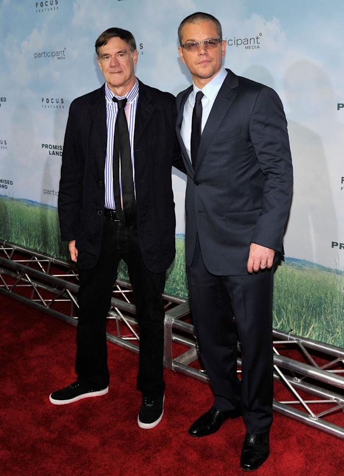 """NEW YORK, NY - DECEMBER 04: Director Gus Van Sant (L) and Matt Damon attend """"Promised Land"""" premiere at AMC Loews Lincoln Square 13 theater on December 4, 2012 in New York City.  (Photo by Stephen Lovekin/Getty Images)"""