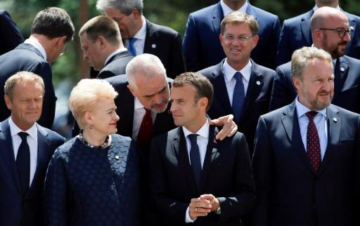 Albania's Prime Minister Edi Rama speaks with France's President Emmanuel Macron and Lithuania's President Dalia Grybauskaite at the EU-Western Balkans summit in Sofia