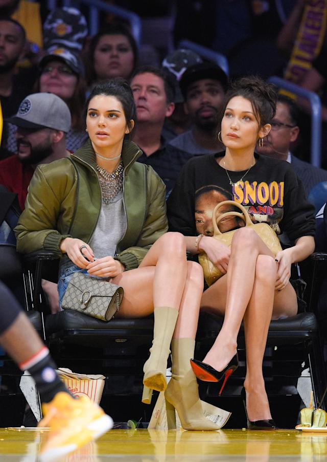 Kendall Jenner and Bella Hadid attend a basketball game between the Dallas Mavericks and the Los Angeles Lakers at Staples Center on Nov. 8, 2016. (Photo: Noel Vasquez/GC Images)