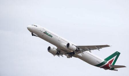 FILE PHOTO: An airplane of Alitalia is seen at the Leonardo da Vinci-Fiumicino Airport in Rome