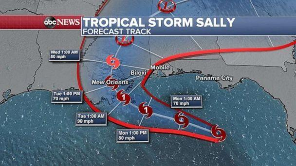 PHOTO: Tropical Storm Sally is forecast to hit the Gulf Coast as a hurricane. (ABC News)