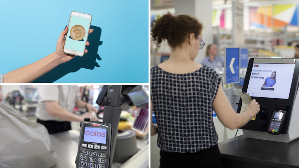 Image of Bitcoin on phone, Coles checkout, Kmart checkout