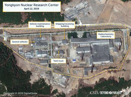 A view of what researchers of Beyond Parallel, a CSIS project, describe as the Radiochemistry Laboratory at the Yongbyon Nuclear Research Center in North Pyongan Province, North Korea, in this commercial satellite image taken April 12, 2019 and released April 16, 2019.    CSIS/Beyond Parallel/DigitalGlobe 2019 via REUTERS