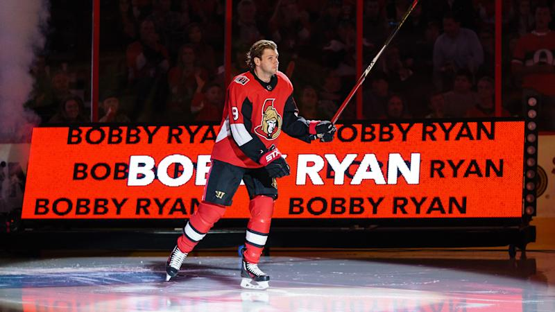 OTTAWA, ON - OCTOBER 5: Bobby Ryan #9 of the Ottawa Senators steps onto the ice during player introductions prior to their home opener against the New York Rangers at Canadian Tire Centre on October 5, 2019 in Ottawa, Ontario, Canada. (Photo by Jana Chytilova/Freestyle Photography/Getty Images)