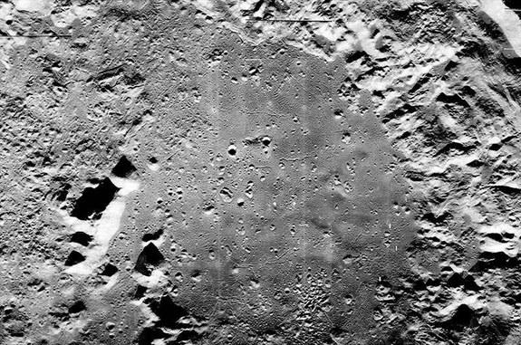 Mosaic of the moon's Copernicus crater floor as imaged by Lunar Orbiter 5 spacecraft and recently reprocessed and released by the Lunar Orbiter Image Recovery Project.