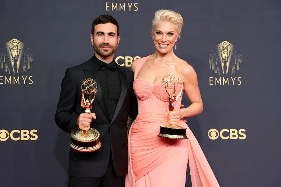 Ted Lasso stars Brett Goldstein and Hannah Waddingham won the outstanding supporting actor and actress in a comedy series awards (Getty Images)