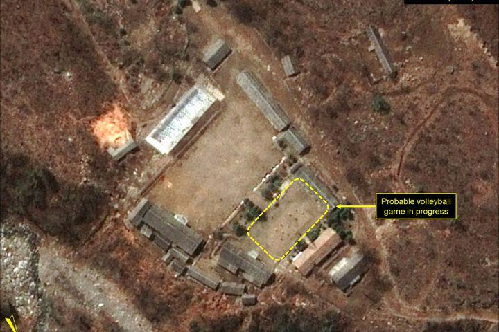 North Koreans have been spotted playing volleyball at its nuclear test site