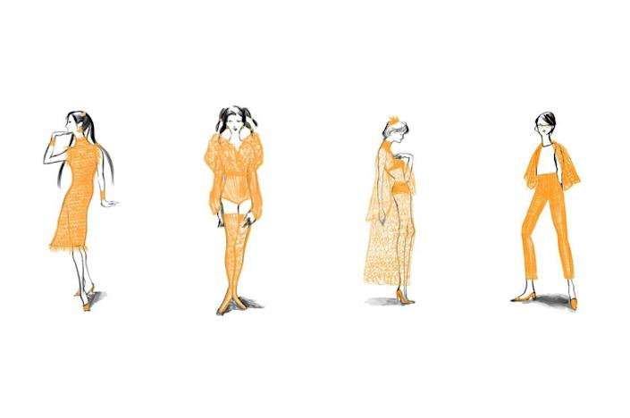Renderings of Rie Sakamoto's innovative rubber band outfits.