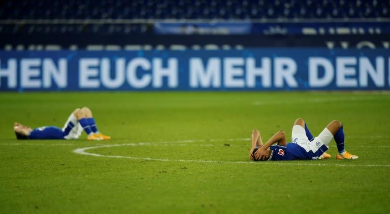 Schalke players react after the home defeat to Arminia Bielefeld extends their winless run to 29 league games