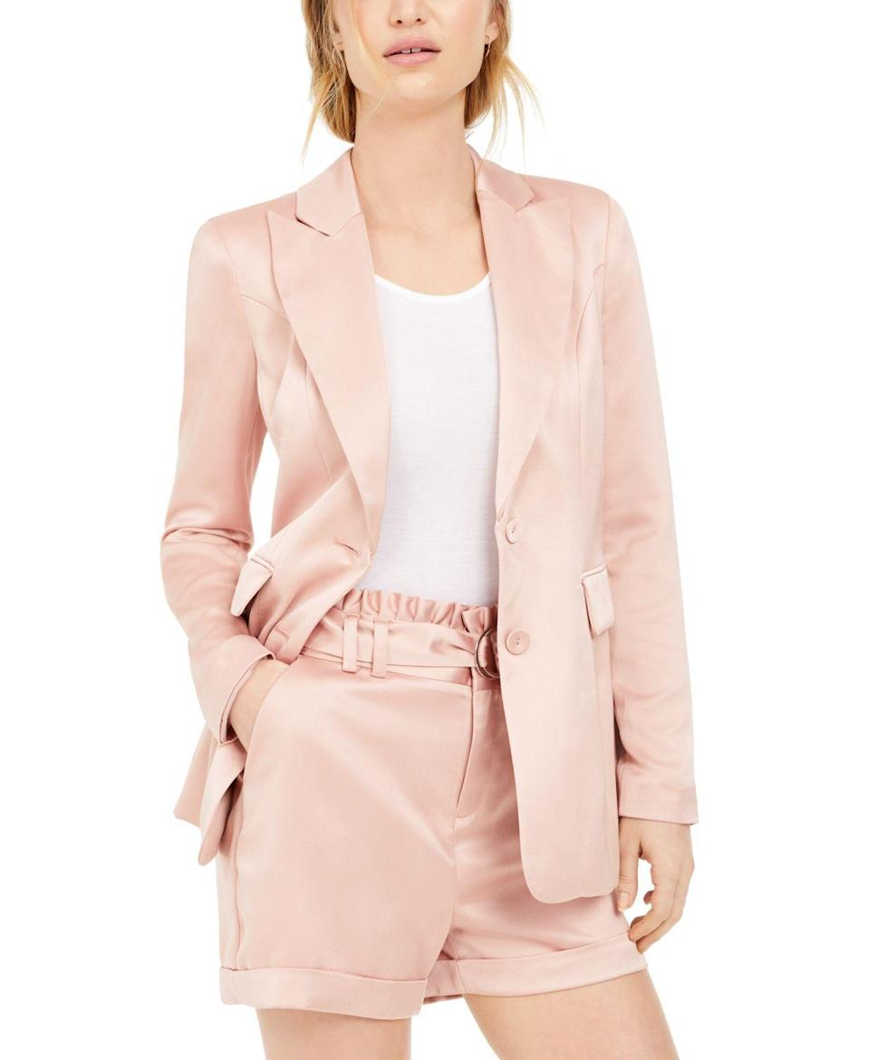 """<p><strong>Bar III</strong></p><p>macys.com</p><p><strong>$35.82</strong></p><p><a href=""""https://go.redirectingat.com?id=74968X1596630&url=https%3A%2F%2Fwww.macys.com%2Fshop%2Fproduct%2Fbar-iii-satin-boyfriend-blazer-created-for-macys%3FID%3D10500428&sref=https%3A%2F%2Fwww.goodhousekeeping.com%2Fbeauty%2Ffashion%2Fg31811906%2Fcute-summer-outfits%2F"""" rel=""""nofollow noopener"""" target=""""_blank"""" data-ylk=""""slk:Shop Now"""" class=""""link rapid-noclick-resp"""">Shop Now</a></p><p>A pastel blazer replaces your boring navy classic. Pair it with a tee shirt and jeans, or look like a boss with white pants and a pretty blouse underneath.</p>"""