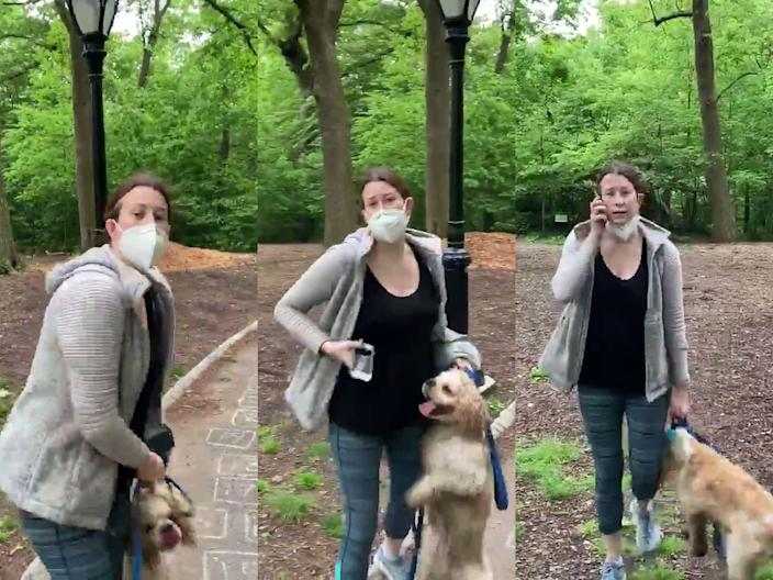 Amy Cooper during a confrontation with a Black man who asked her to leash her dog in Manhattan's Central Park.
