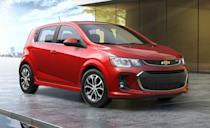 """<p>The 2020 <a href=""""https://www.caranddriver.com/chevrolet/sonic"""" rel=""""nofollow noopener"""" target=""""_blank"""" data-ylk=""""slk:Chevrolet Sonic"""" class=""""link rapid-noclick-resp"""">Chevrolet Sonic</a> has the best initial quality of any small car you can buy according to JD Power. We've also praised the Sonic for its spunky turbocharged engine, standard 4G LTE Wi-Fi connectivity and ample storage space. But the Sonic won't be around much longer, Chevy will discontinue it at the end of the 2020 model year. </p><p>Available as a four-door sedan and five-door hatchback the Sonic is offered in LS, LT, and Premier trim levels. Front-wheel drive is standard and the entire line up is powered by a 138-hp turbocharged 1.4-liter four-cylinder paired with a six-speed automatic. It's a responsive combination; the <a href=""""https://www.caranddriver.com/reviews/a25849794/2019-chevrolet-sonic-hatchback-by-the-numbers/"""" rel=""""nofollow noopener"""" target=""""_blank"""" data-ylk=""""slk:Sonic recorded a zero-to-60-mph"""" class=""""link rapid-noclick-resp"""">Sonic recorded a zero-to-60-mph</a> time of 8.5 seconds at our test track, but it's thirsty for this class. We managed just 31 mpg in our 200-mile highway fuel economy test, 3 mpg lower than its EPA estimate. </p><p>It's interior is surprisingly quiet and well equipped for its $17,595 base price. A 7.0-inch infotainment screen is standard, along with a 4G LTE Wi-Fi hotspot, Apple CarPlay and Android Auto integration.</p>"""