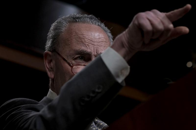 Senate Minority Leader Chuck Schumer (D-N.Y.) speaks to reporters at a press conference at the Capitol in Washington, D.C. on Jan. 27, 2020. Gabriella Demczuk / TIME | Gabriella Demczuk for TIME