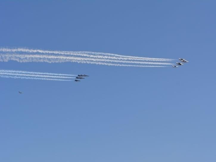 The Blue Angels and Thunderbirds flew over Pennsylvania Tuesday, April 28.