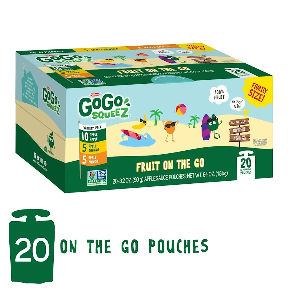 <p>Applesauce is still a delicious snack, and this <span>GoGo SqueeZ Applesauce on the Go</span> ($10 for 20 pouches) makes it so easy to transport without worrying about spills.</p>