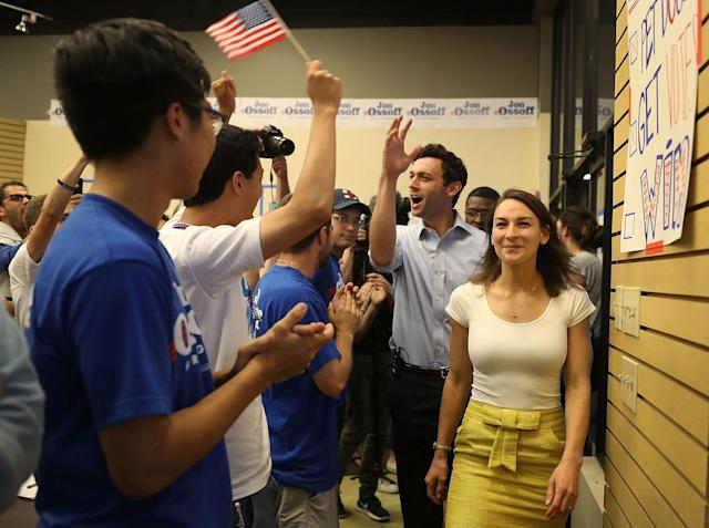 <p>Democratic candidate Jon Ossoff arrives with his fiancee, Alisha Kramer, to thank volunteers and supporters on the last night before election day as he runs for Georgia's 6th Congressional District on June 19, 2017 in Roswell, Ga. (Photo: Joe Raedle/Getty Images) </p>