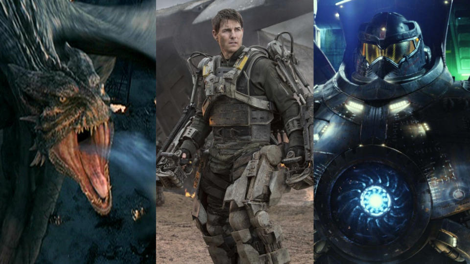 'Reign of Fire', 'Edge of Tomorrow' and 'Pacific Rim' are all sci-fi films set in 2020. (Credit: Disney/Warner Bros)