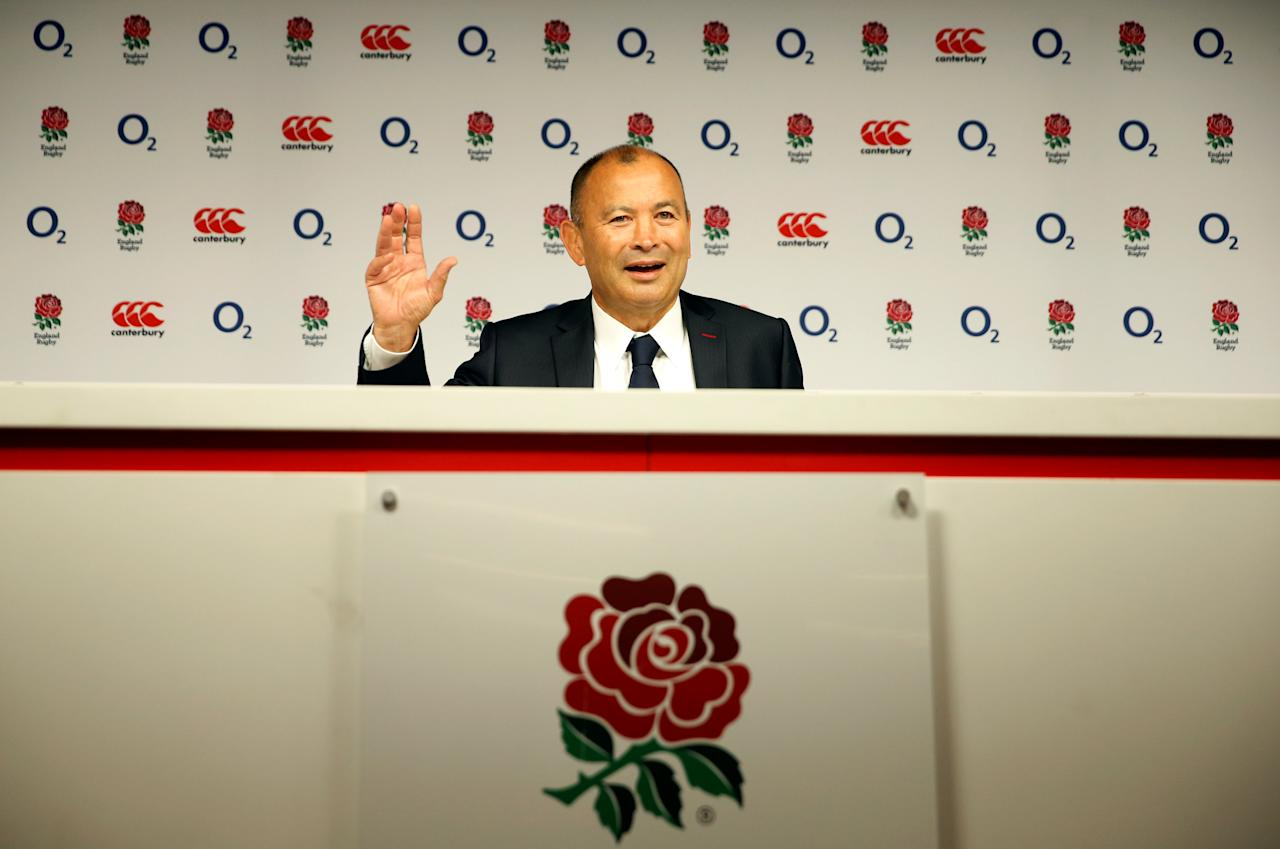Rugby Union - England - Eddie Jones Press Conference - Twickenham Stadium, London, Britain - September 22, 2017   England head coach Eddie Jones during the press conference   Action Images via Reuters/Andrew Boyers