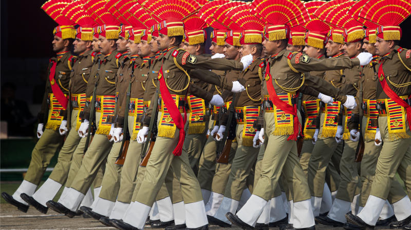 India's Seema Suraksha Bal paramilitary soldiers participate in a parade to mark Republic Day in Gauhati, India, Sunday, Jan. 26, 2020. Sunday's event marks the anniversary of the country's democratic constitution taking force in 1950. (AP Photo/Anupam Nath)