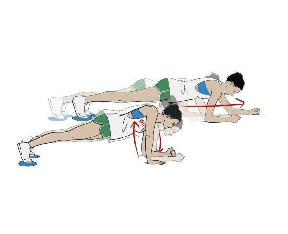 <p><strong>1/ </strong>In a low plank position with your toes on the gliders, walk forwards four 'steps' on your forearms.</p><p><strong>2/ </strong>Step up onto your right palm, then your left and into a high plank. Now reverse the movement back onto your forearms before going back four steps. Grunting optional.</p>