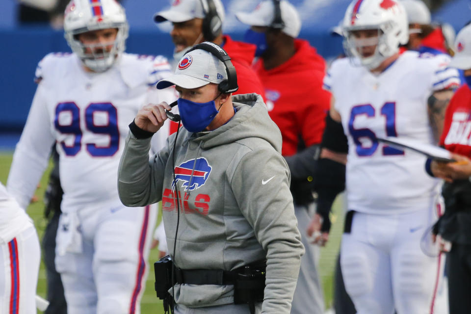Buffalo Bills head coach Sean McDermott works the sideline during the second half of an NFL football game against the Los Angeles Chargers, Sunday, Nov. 29, 2020, in Orchard Park, N.Y. (AP Photo/Jeffrey T. Barnes)