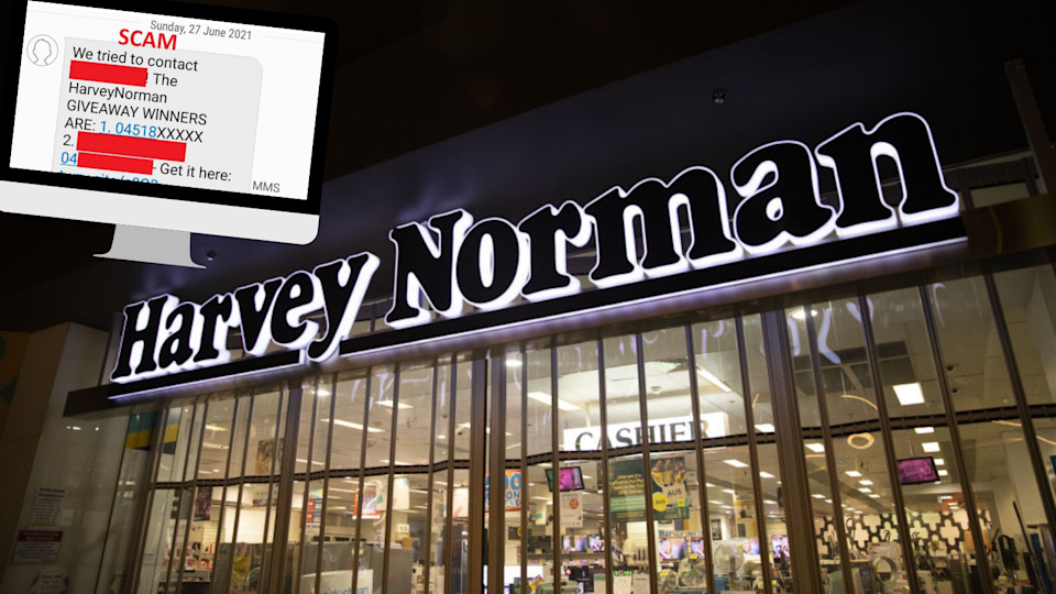 This scam text appears to be from Harvey Norman. (Source: Getty, Scamwatch)