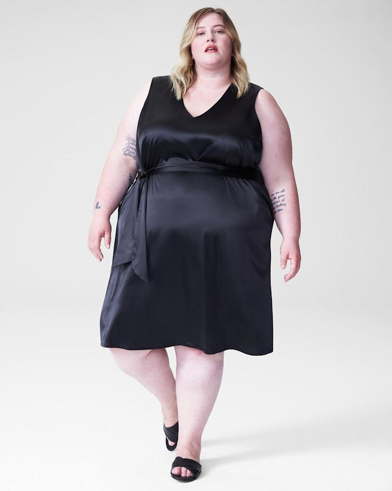 """Universal Standard Spencer Slip Tie Dress $85, Universal Standard. <a href=""""https://www.universalstandard.com/collections/dresses/products/spencer-slip-tie-dress-glossy-black"""">Get it now!</a>"""