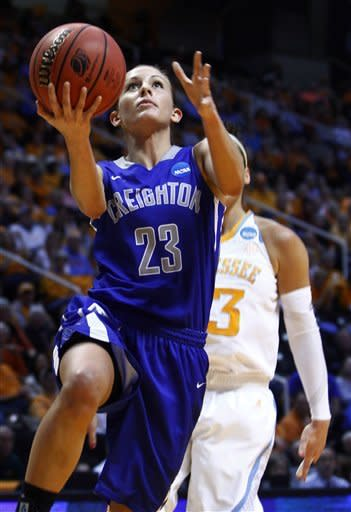 Creighton guard Marissa Janning (23) goes for a lay-up in the first half of a second-round game against Tennessee in the women's NCAA college basketball tournament on Monday, March 25, 2013, in Knoxville, Tenn. (AP Photo/Wade Payne)