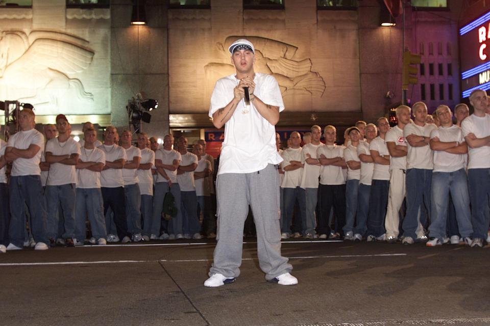 Eminem and his look-a-likes at rehearsals for the 2000 MTV Video Music Awards at Radio City Music Hall in New York City.
