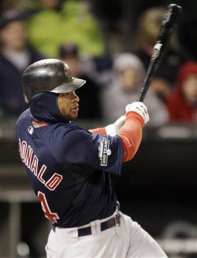 Boston Red Sox's Darnell McDonald hits a solo home run during the ninth inning of a baseball game against the Chicago White Sox in Chicago, Friday, April 27, 2012. The Red Sox won 10-3. (AP Photo/Nam Y. Huh)