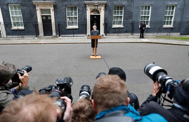 <p>British Prime Minister Theresa May speaks to the media outside 10 Downing Street after returning from visiting Queen Elizabeth II at Buckingham Palace, in London where she asked for the dissolution of Parliament ahead of the upcoming general election, Wednesday, May 3, 2017. ( Photo: Kirsty Wigglesworth/AP) </p>