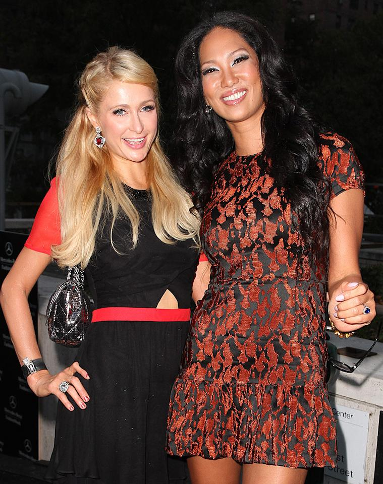 "Never one to stay away from the spotlight, hotel heiress Paris Hilton hit up Fashion Week on Friday, where she bumped into her fashion designer pal Kimora Lee Simmons. ""Happy Friday!! Looking forward to another day of #FashionWeek in #NY!,"" Hilton tweeted that day. What are you looking forward to?"" Oh, you know, a long work day, followed by an evening Chinese takeout and Netflix. But you enjoy, Paris! (9/7/2012)"