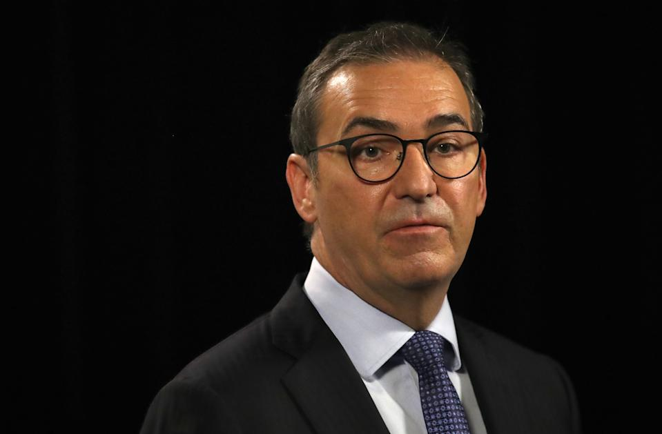 South Australian Premier Steven Marshall speaking to the media during the daily Covid-19 update. Source: Getty