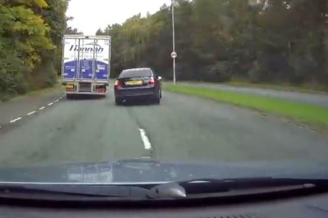 Reckless UK motorist loses control and ends up driving down wrong side of road