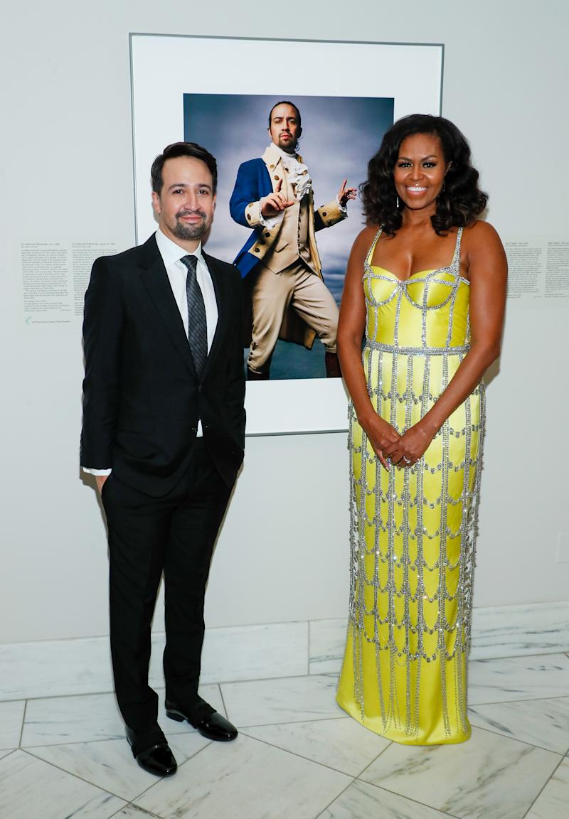 Former first lady Michelle Obama presented Lin-Manuel Miranda with his Portrait of a Nation prize.