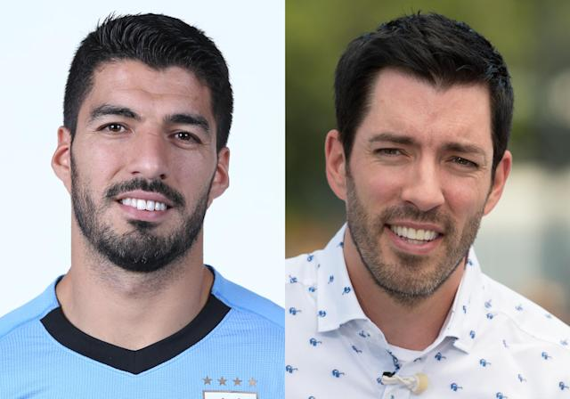 <p>Argentina's Luis Suarez and Drew Scott, TV personality from the show <em>Property Brothers</em> </p>