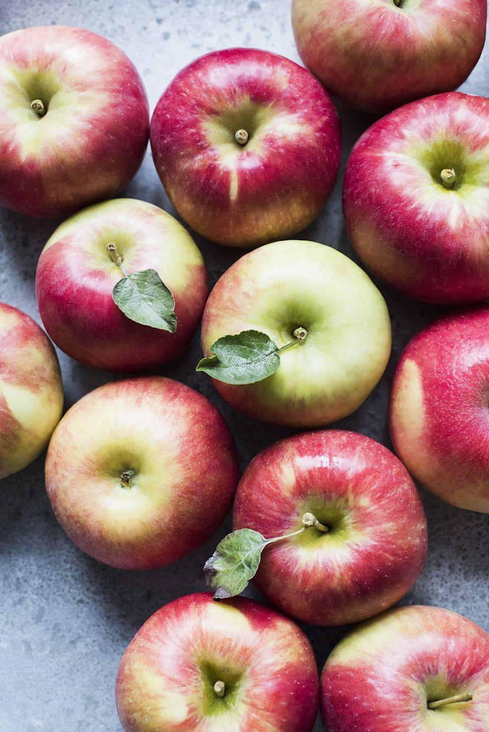 "<p>Science agrees: An apple a day <a href=""https://www.goodhousekeeping.com/health/diet-nutrition/a19500501/apple-nutrition/"" rel=""nofollow noopener"" target=""_blank"" data-ylk=""slk:may in fact keep your cardiologist away"" class=""link rapid-noclick-resp"">may in fact keep your cardiologist away</a>. Evidence has shown that frequent apple consumption may reduce total cholesterol. That's thanks to the phenolic compounds found in apple skins — a.k.a. the antioxidant compounds that promote healthy cellular function and proper blood flow.</p><p><strong>RELATED: </strong><a href=""https://www.goodhousekeeping.com/food-recipes/g3658/best-apple-recipes/"" rel=""nofollow noopener"" target=""_blank"" data-ylk=""slk:The 70 Greatest Things You Can Do With Apples"" class=""link rapid-noclick-resp"">The 70 Greatest Things You Can Do With Apples</a></p>"