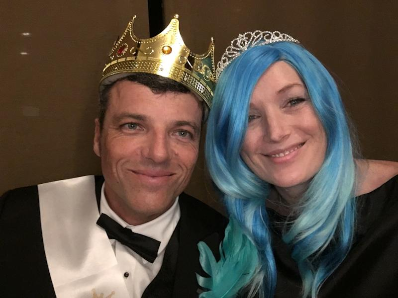 I seized the moment and wore a fabulous wig to my husband's prom-themed holiday party. We were named king and queen!