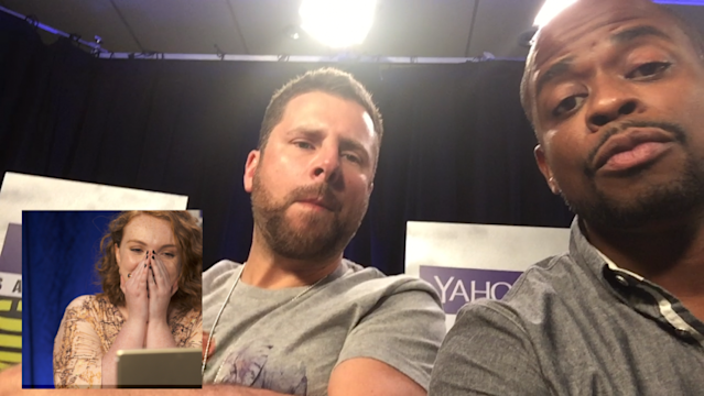 'Stranger Things' star Shannon Purser got emotional when she saw a video message from 'Psych' stars James Roday and Dulé Hill (Photo: Yahoo)