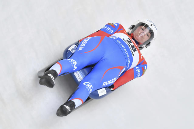 Russia's winner Tatyana Ivanova, speeds down the course during her first run at the women's luge World Cup race in Igls, Austria, Saturday, Nov. 23, 2019. (AP Photo/Kerstin Joensson)
