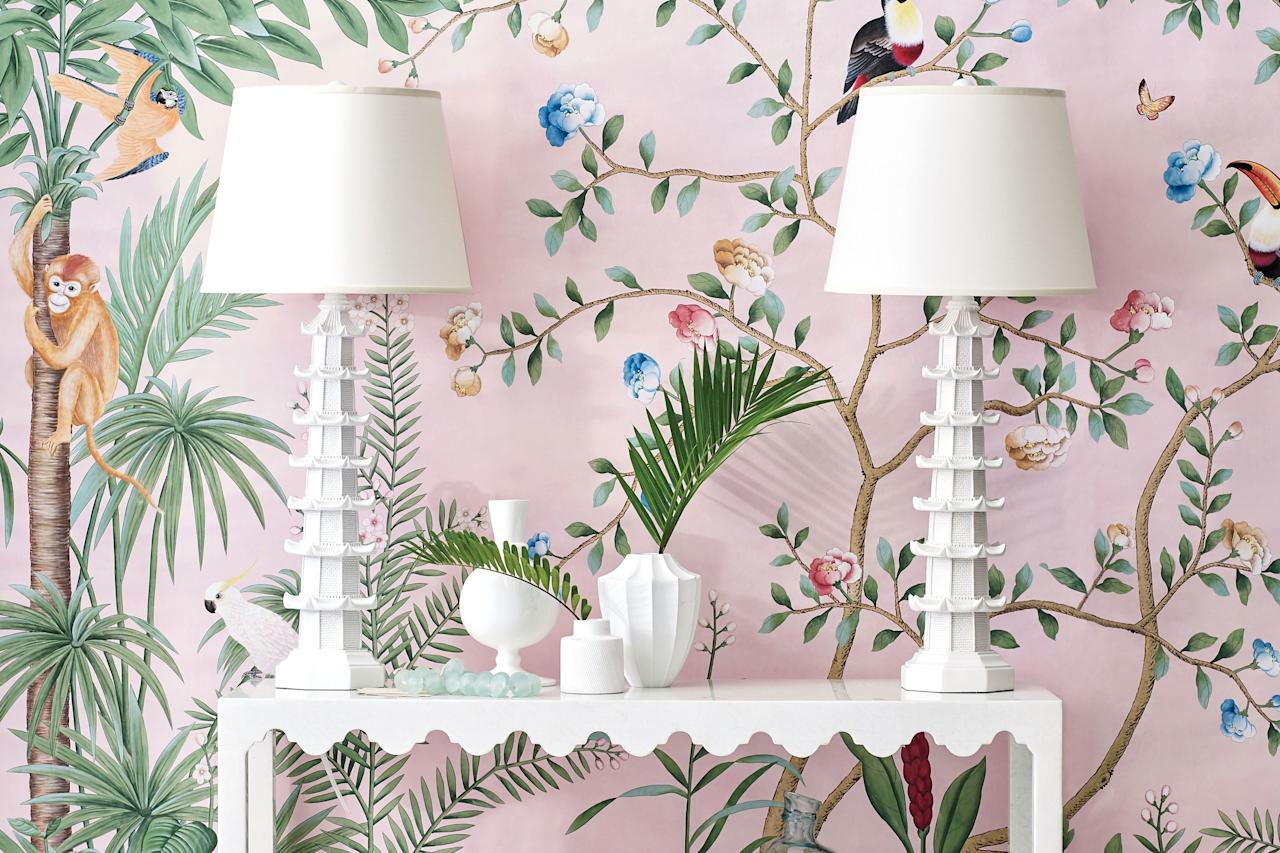 "<p>Feel the sway with this breezy motif that always lends an island vibe.</p> <p><strong>Climb the Walls: </strong>This stunning hand-painted wallpaper (<a href=""https://degournay.com/amazonia-design"" target=""_blank"">Amazonia by de Gournay</a>) elevates an otherwise ordinary foyer to elegance. Pair a timeless tropical print like this—filled with flora and fauna—with all-white furniture and accessories to keep it center stage.</p>"