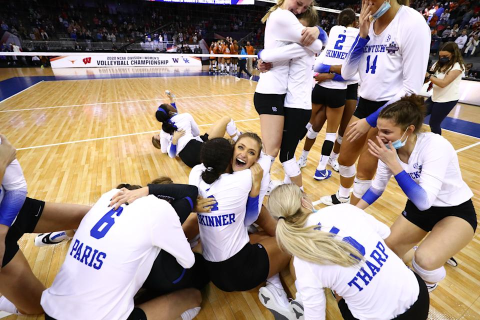 OMAHA, NE - APRIL 24: Kentucky celebrates winning against Texas during the Division I Womens Volleyball Championship held at the Chi Health Center on April 24, 2021 in Omaha, Nebraska. (Photo by Jamie Schwaberow/NCAA Photos via Getty Images)