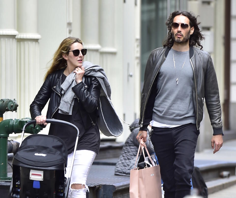 Laura Gallacher and Russell Brand in Soho on May 15, 2017 in New York City. (Photo: Alo Ceballos/GC Images)