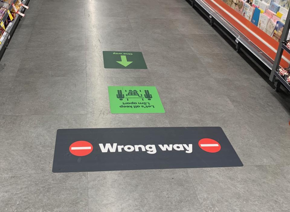 These floor markings may begin appearing in Woolworths stores across the country. Source: Supplied