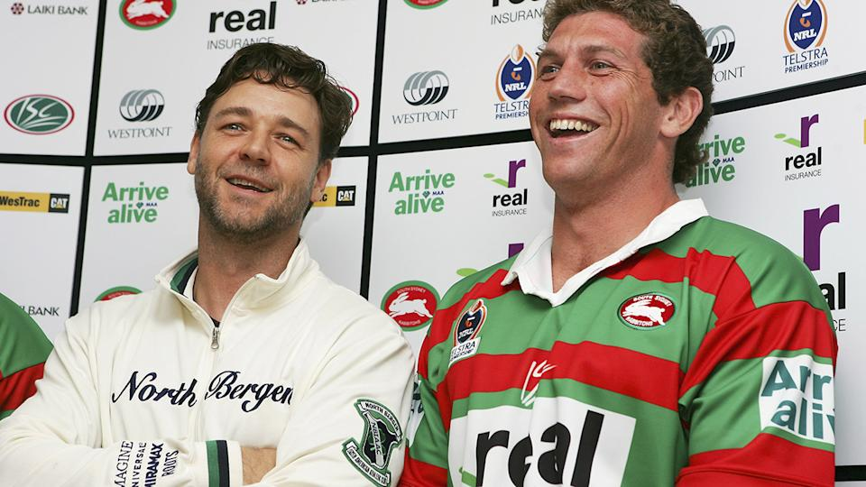Russell Crowe and Bryan Fletcher, pictured here at a press conference in 2005.