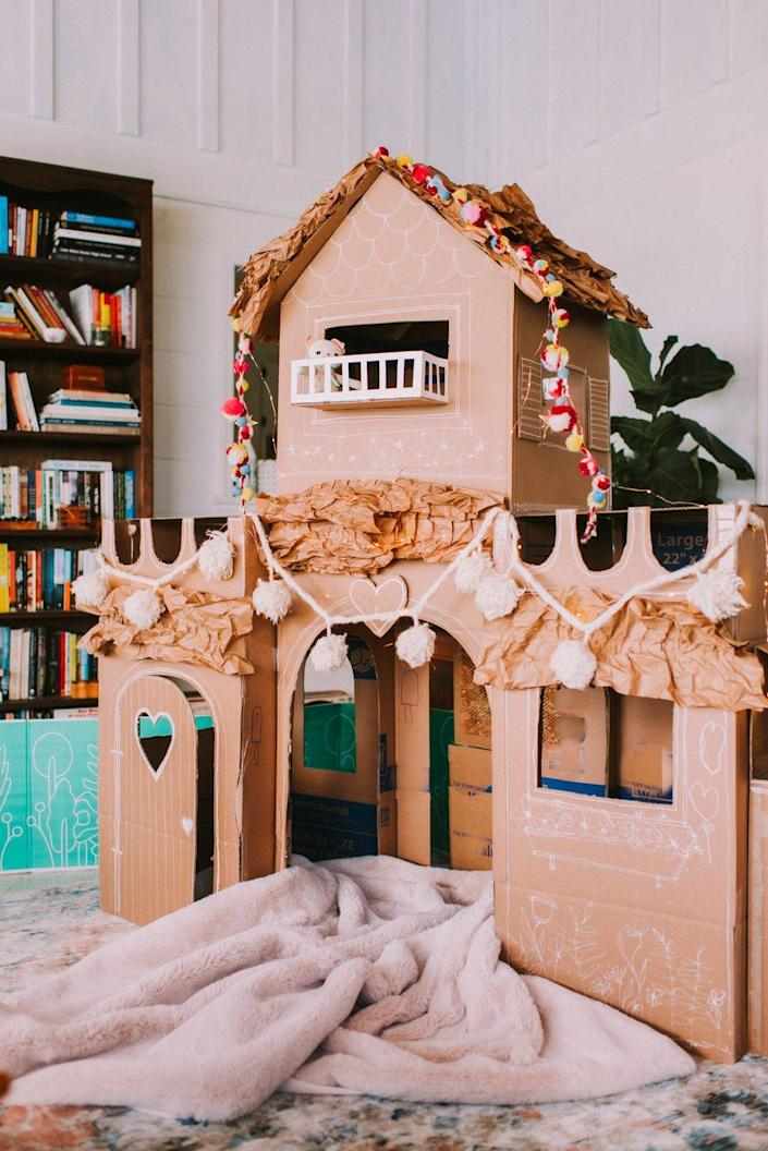 """<p>Make the most epic fort ever this Father's Day. After Dad cuts the cardboard, your kids can help tape it together, draw on designs, and voila! It's a castle worthy of a cozy afternoon spent reading books or watching movies in a fort you made together. </p><p><strong>Get the tutorial at <a href=""""https://thewiegands.com/2020/06/creating-a-cozy-cardboard-castle.html"""" rel=""""nofollow noopener"""" target=""""_blank"""" data-ylk=""""slk:Casey Wiegand of The Wiegands"""" class=""""link rapid-noclick-resp"""">Casey Wiegand of The Wiegands</a>.</strong></p><p><a class=""""link rapid-noclick-resp"""" href=""""https://go.redirectingat.com?id=74968X1596630&url=https%3A%2F%2Fwww.walmart.com%2Fip%2FScotch-Magic-Tape-3-4-in-x-300-in-4-Dispensers-Pack%2F21464347&sref=https%3A%2F%2Fwww.thepioneerwoman.com%2Fholidays-celebrations%2Fg36333267%2Ffathers-day-activities%2F"""" rel=""""nofollow noopener"""" target=""""_blank"""" data-ylk=""""slk:SHOP TAPE"""">SHOP TAPE</a></p>"""