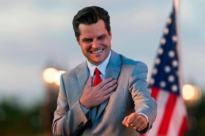 """U.S. Representative Matt Gaetz greets attendees after speaking at the """"Save America Summit"""" at the Trump National Doral Resort in Doral, Florida, on Friday, April 9, 2021."""