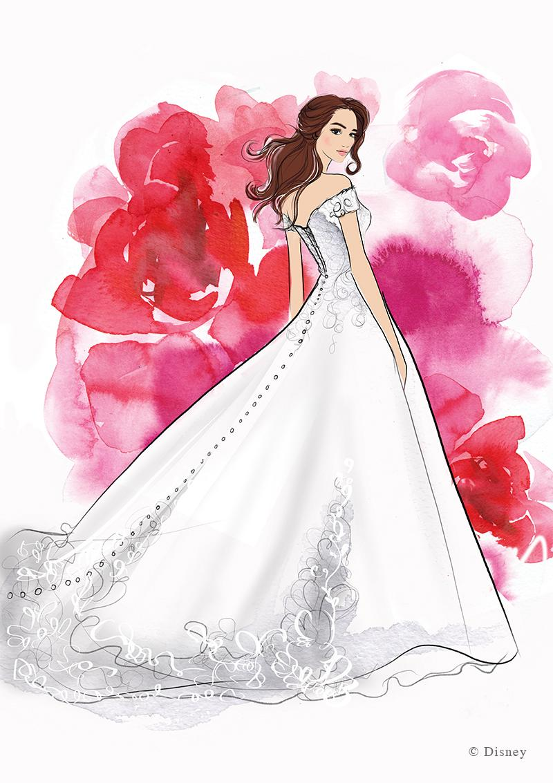 "Designers created this wedding day look for ""Beauty and the Beast"" heroine Belle. (Photo: Disney)"
