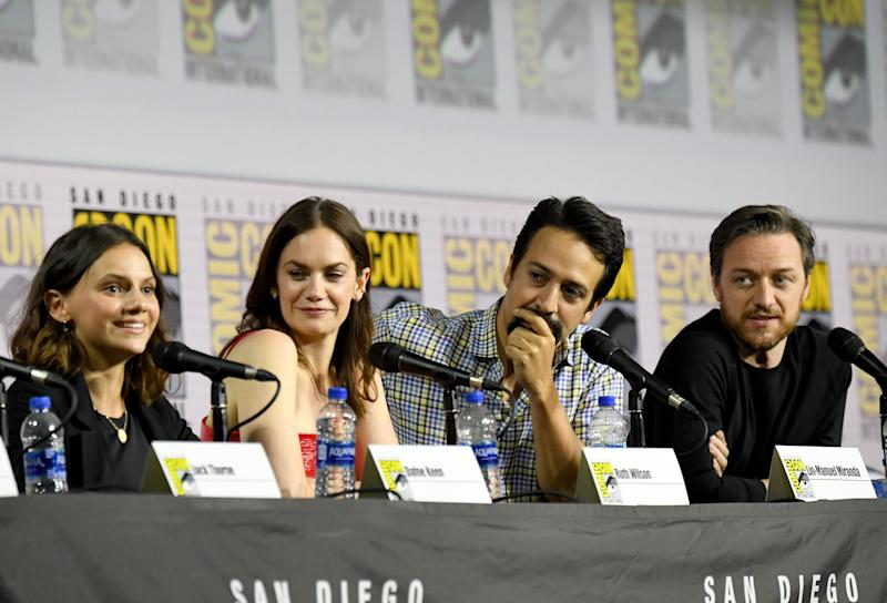 "SAN DIEGO, CA - JULY 18: Dafne Keen, Ruth Wilson, Lin-Manuel Miranda and James McAvoy at ""His Dark Materials"" Comic Con Autograph Signing 2019 at the 50th San Diego Comic Con International Convention at the San Diego Convention Center July 18, 2019 in San Diego, California. (Photo by Jeff Kravitz/FilmMagic for HBO)"